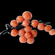 Delicate Art deco Brooch Coral Flower Brunch