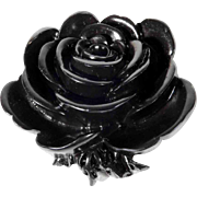 Beautiful Gutta Percha Mourning Brooch Rose Shape