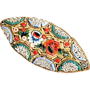 Vintage Micro Mosaic Brooch Unusual Shape  Summer Flowers
