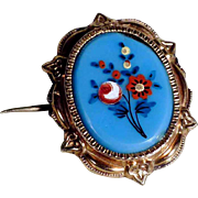 19th Century Brooch Hand Painted Opaline Plaque
