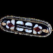 19th Century  Pietra Dura Brooch Baguette Shape