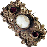 Victorian Era Brooch Garnets and Shell Cameo