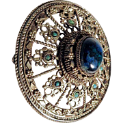 Extravagant Silver Brooch/Pendant with Stone Cabochon
