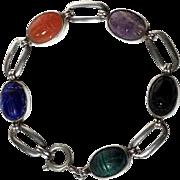 Silver Bracelet Scarab Beetle Semi-Precious Carved Stones Malachite Onyx Lapis-Lazuli