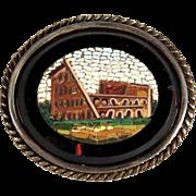 Victorian Era Micro Mosaic Brooch Rome View Coliseum