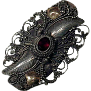 Sterling Silver Brooch with Garnet Hand Crafted