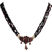 19C Stunning Bohemian Garnet Necklace 14K Mounts