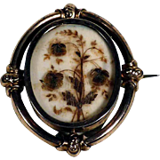 Victorian Era Mourning Photo Brooch Hair Flowers