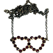 Delicate Silver Necklace Intricate Garnet Hearts ca. 1920