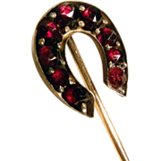 Pin Horse Shoe Shape Bohemia Garnets about 1900