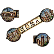 19th Century Micro Mosaic Brooch Rome Views