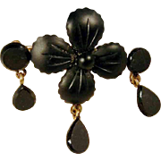 Unusual Gutta Percha Mourning Brooch ca. 1900