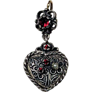 Lovely Silver Pendant Heart Shape Garnets and Seeded Pearl