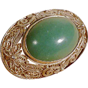 Silver Filigree Brooch with Large Jade Cabochon