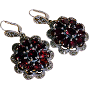 Vintage Earrings Silver and Garnets – Large and Extravagant!
