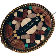 Antique Brooch Stone Mosaic Bohemia about 1900
