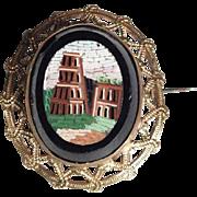Micro Mosaic Brooch Coliseum in Rome – Lovely Grand Tour Souvenir ca. 1880