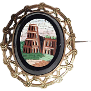Micro Mosaic Brooch Coliseum in Rome – Lovely Grand Tour Souvenir ca. 1880