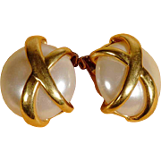 Opulent Ear Clips Frosted Lucite ca. 1960