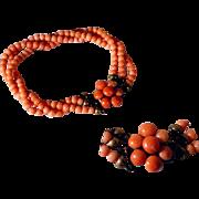 Angel Skin Three Strands Coral Bracelet Cluster Closure