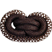 Beautiful Mourning Brooch Woven Hair Love Knot