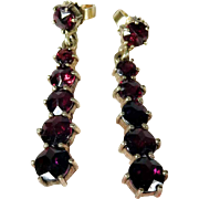 Lovely Garnet Dangle Earrings Studs