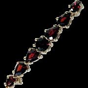 Elegant Bar Pin Brooch Bohemian Garnets Art Deco Era