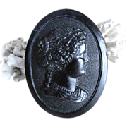 Victorian Era Jet Mourning Brooch Women Head