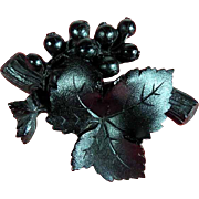 Unusual Gutta Percha Mourning Brooch Grapes and Leaves ca. 1900