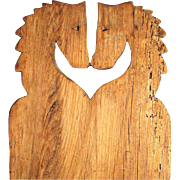 Old Treen Chopping Board Horse Heads Primitive Folk Art