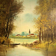 Amazing Lacustrine Landscape Barbizon School ca. 1880