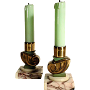 Pair of Matching Night Lights Opaline Glass Marble Art Deco Pure!
