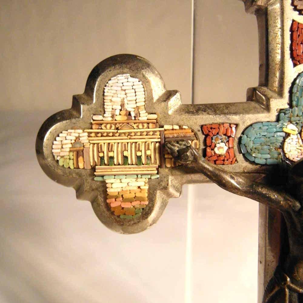 Micro Mosaic Cross Crucifix Four Roman Views And Dove Ca