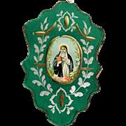 Early 19th Century Devotional Image of Saint Bridget of Sweden Convent Work