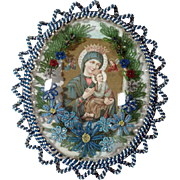 Monastery Work Reliquary Virgin Mary and Baby Jesus Beaded Frame