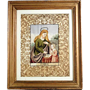 Early 19th Century Exceptional Convent Work Saint Anna teaching the Virgin to Read