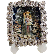 Shadow Box  Cerostata Virgin Holding Baby Jesus Wax Reliquary