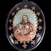 19th Century Nun Work Reliquary Sacred Heart of Jesus