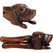 Hand Carved Nutcracker Laying Chase Dog