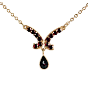 Delicate Garnet Necklace Sterling Silver Gold Filled