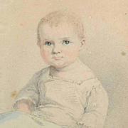 Adorable Water Color Baby Portrait German  Listed Artist 1839