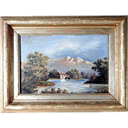 Excellent Landscape Painted on Slate Plaque Signed and dated 1883