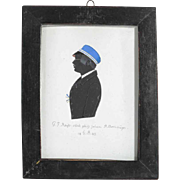 Early Victorian Painted Silhouette Signed and Dated 1843