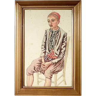 Water Color Young Boy ca. 1880/1900