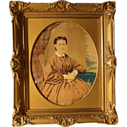 Excellent Water Color Lady's Portrait Era ca. 1870