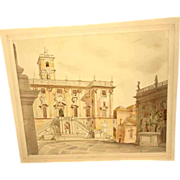 Beautiful Study Pallazo Senatorio Rome Water Color /Pencil