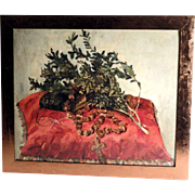 French Still Life Mistletoe Bible and Rosary about 1900