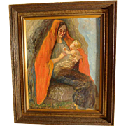 Charming Painting Mother and Child Artist Signed