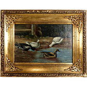 Ducks on the Pond Lovely Oil Painting