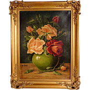 Enchanting Still Life with Roses Artist Signed